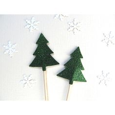 Glitter Tree Cupcake Toppers, Green, Woodland Wedding, Modern,... (6.46 CAD) ❤ liked on Polyvore featuring home, home decor, holiday decorations, green home accessories and green home decor