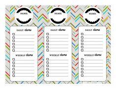 KID CHORE CHART PRINTABLE by Cul-de-sac Cool!