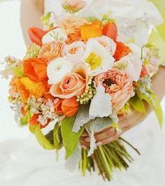 Orange Wedding Flowers Green Reception Decor Flower Centerpiece