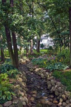 Drainage Ditch for a Traditional Landscape with a Dry Creek Bed and Drainage and. - Drainage Ditch for a Traditional Landscape with a Dry Creek Bed and Drainage and Erosion Control by -