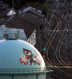 Painted water tower in Japan. Really, so cute!