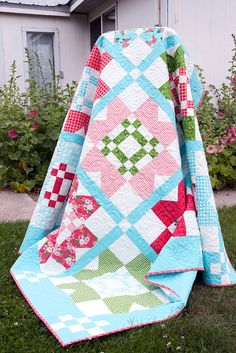 Vintage Picnic quilt...an exclusive pattern for Fat Quarter Shop. Available in PDF or paper and kits are available for preorder. Fabric is Gooseberry by Vanessa Goertzen of Lella Boutique for Moda.