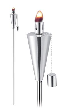 Outdoor cone torches, lighting, fireplace, stainless steel garden torches, citronella torches.