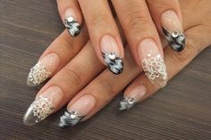 Japanese Nail Art: sculptured transparent extension embedded with lace