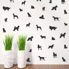 36 Dog-Shaped Vinyl Wall Decals