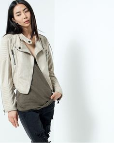 Show details for Taupe Faux Suede Moto Jacket