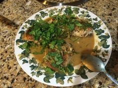 Sauce- Dijon mustard, lots of garlic, green onion, juice of 1 lime, white wine vinegar, honey, red pepper flake, touch of beer, tiny amount of chicken broth from the chicken only