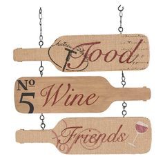 This stunning wooden sign is shaped like three wine bottles. This wine bottle decoration can easily be hung by the metal chain. Fits perfectly with all your wine home decor. Wine Craft, Wine Cork Crafts, Wine Bottle Crafts, Wood Crafts, Wine Bottle Glasses, Wine Bottle Wall, Bottle Art, Wine Bottles, Wine Wall