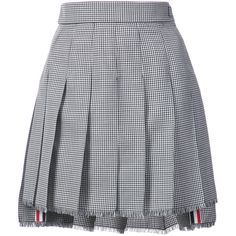 Thom Browne Dropped-Back Mini Pleated Skirt with Fray in Hopsack-Check... ($1,290) ❤ liked on Polyvore featuring skirts, mini skirts, black, checked skirt, wool pleated skirt, thom browne, checkered mini skirt and checkered skirt