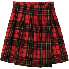 Limi Feu Tartan Wrap Skirt (10.325 ARS) ❤ liked on Polyvore featuring skirts, bottoms, saias, red, wool pleated skirt, red plaid skirts, red tartan skirt, tartan pleated skirts and knee length skirts
