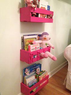 Books on the Wall, Nursery Bookshelves. CD creates from michaels for $5 each.