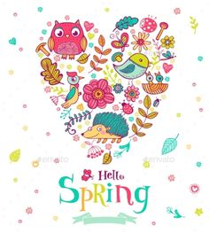 Hello Spring Banner In Doodle Style,acorn, art, background, banner, beautiful, card, decoration, design, doodle, flower, forest, graphic, greeting, heart, hello, icon, illustration, leaf, love, nature, outline, owl, plant, spring, style, tamplet, twig, valentines, vector, welcome