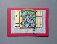 Apple Orchard Window Cat Hand Made Card