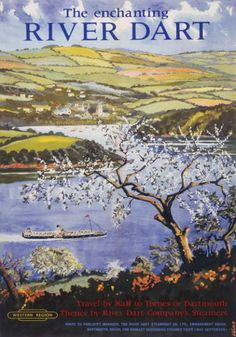 """The enchanting River Dart. """"Travel by rail to Totnes or Dartmouth, thence by River Dart Company's steamers."""" Looks like Dittisham in the distance. South Devon."""