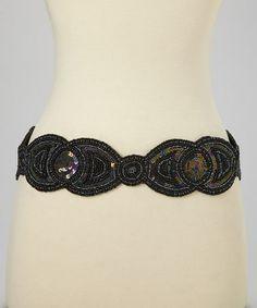 Look what I found on #zulily! Black Beaded Belt #zulilyfinds