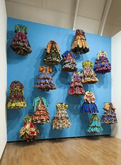 Yinka Shonibare MBE, Little Rich Girls (2010) Commissioned by the London College of Fashion and the Royal Academy of Arts Installation shot from GSK Contemporary – Aware: Art Fashion Identity