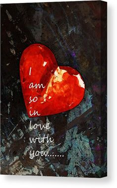 So In Love With You - Romantic Red Heart Painting Canvas Print / Canvas Art by Sharon Cummings Romantic Images, Love Images, Romantic Gifts, Heart Images, Abstract Wall Art, Abstract Landscape, Morning Love Quotes, Sunday Quotes, Canvas Art