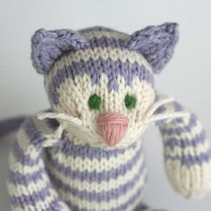Sugared Violet Tabby Cat  Hand Knit Organic Cotton by yarnmiracle, $56.00