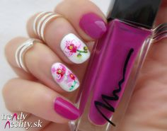 Nail art, Nail design, Flower, violet polish, Marionnaud 18, Orchid