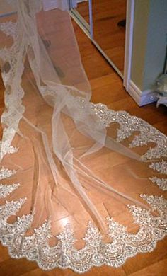 Wedding Dress Accessories - Veil Ivory Mantilla Risa Mantilla Cathedral Veil With Gorgeous Alencon Lace & Sequin Embellishment $180 USD - New With Tags