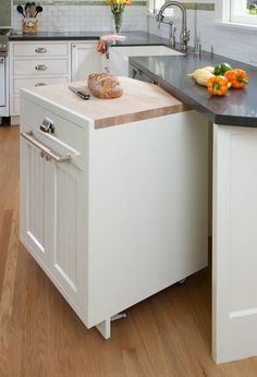 Slide-out Butcher block insert for kitchen countertop idea