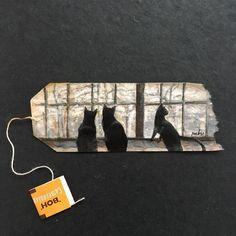 Artist Creates Visual Diary with Daily Miniature Paintings on Used Tea Bags Tea Bag Art, Tea Art, Mini Paintings, Watercolor Paintings, Miniature Paintings, Tee Kunst, Art Altéré, Used Tea Bags, Colossal Art