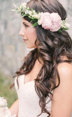Elegantly soft wavy wedding hairstyle with pink flower crown; Featured Photographer: Melissa Gidney Photography