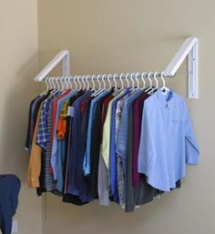 QuickCloset $38.99 For the Laundry room, could hang above the fold away laundry table.