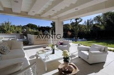 Beautifully decorated seating area on a terrace with private garden.   (Luxury Real Estate Spain)  #avantgardeproperties