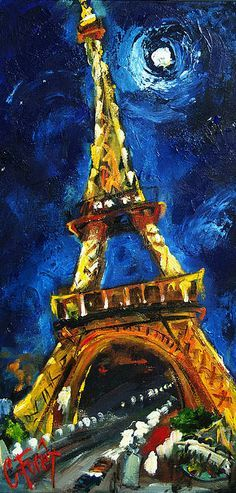 Van Gogh, Eiffel Tower. Cool art!. Please also visit www.JustForYouPropheticArt.com for more colorful Art you might like to pin. Thank you so much! Blessings!