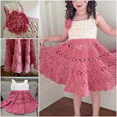 Crochet vintage dress for little girls . Free pattern #diy #crafts #crochet