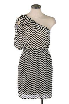 Black and white chevron print one shoulder dress