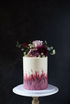 Floral celebration or wedding cake with fresh flowers and pink textured buttercream Modern Birthday Cakes, 70th Birthday Cake, Beautiful Birthday Cakes, Beautiful Cakes, Tall Wedding Cakes, Wedding Cake Prices, Buttercream Cake Designs, Buttercream Wedding Cake, Cupcakes