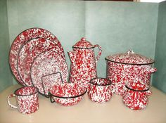 Red/White Enamelware - I love it! I have some and they are an easy clean.
