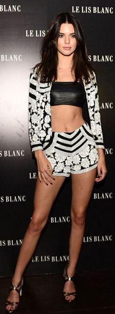 Kendall Jenner's wearing Shorts, shirt, and jacket – Le Lis Blanc Shoes – Jimmy Choo