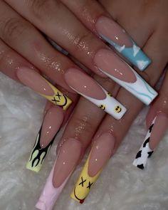 Acrylic Nails Coffin Pink, Long Square Acrylic Nails, Drip Nails, Glow Nails, Cute Acrylic Nail Designs, Exotic Nails, Luxury Nails, Minimalist Nails, Stylish Nails