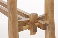 Detail of the wedge design, enabling the tables to be easily dismantled.