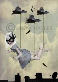 SALE - Pop Surrealism Art Print - Masked Girl & Blackbirds -'Along For The Ride'- By Tanya Mayers. $12.57, via Etsy.