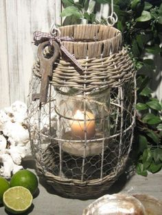 Love the vintage key and the chicken wire. Candle Holders Wedding, Lantern Candle Holders, Lanterns Decor, Candle Lanterns, Candle On The Water, Candlesticks, Candleholders, Candlemaking, Best Candles