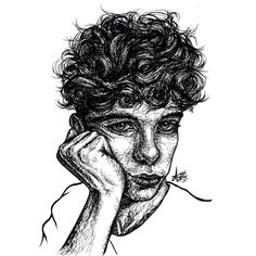 IG: @alx.s.art Portrait of @mercury.x (IG) Black and white. Lines. Culry hair. Wavy hair. Boy, man, male portrait.