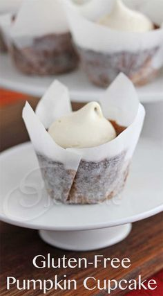 Gluten-Free Almond Sorghum Pumpkin Cupcake Recipe by Jeanette's Healthy Living Gluten Free Cupcakes, Gluten Free Sweets, Gluten Free Cooking, Vegan Gluten Free, Gluten Free Recipes, Paleo, Cooking Recipes, Gluten Free Pumpkin, Pumpkin Recipes