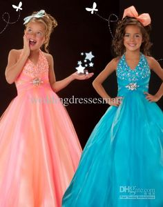 Wholesale Girls Pageant - Buy Halter Shiny Beaded Sequins Crystals Little Girls' Pageant Dresses Ball Gown Long Custom Made Cheap Junior Bridesmaid Gowns Hot Sell Glitz, $99.99 | DHgate