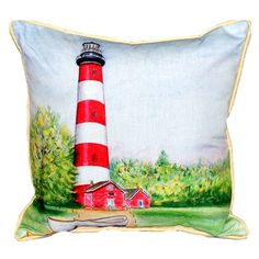 Chincoteague Lighthouse VA Extra Large Zippered Indoor or Outdoor Pillow Extra large indoor/outdoor pillows with a zippered cover and a removable polyfill insert. Square pillows measure 22x22 and rectangular pillows measure 20x24.