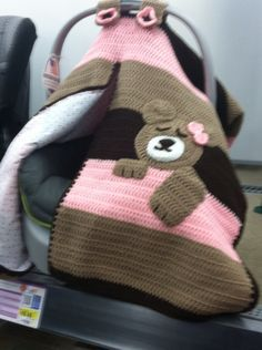 Crochet Car Seat Cover Sleeping Bear