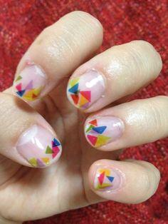 Cute nail i tried. All triangles