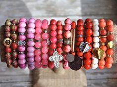 Valentine Beaded Bracelets / Gemstone Beaded Bracelets / Charm Bracelets / Valentine Gift Idea