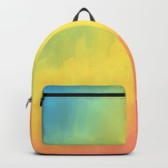 "Watercolors Fun backpack. One unisex size: 17.75""(H) x 12.25""(W) x 5.75""(D)."