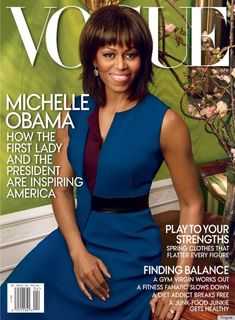 Michelle Obama's Vogue Cover For April Exceeded Our Expectations: Wearing a blue and purple Reed Krakoff sheath plucked straight from her very own closet. Photographed by Annie Leibovitz