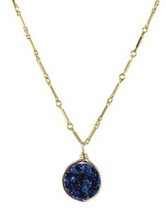 Round Drusy Pendant Necklace by Peggy Li Creations. This blue druzy pendant was seen on Felicity Smoak (Emily Bett Rickards) on TV show Arrow!