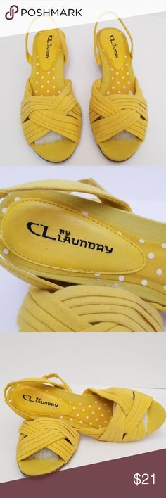 """CL by Laundry Sandals CL by Laundry Sandals. Size 8.5, yellow fabric, back flex strap, 2"""" cork wedge heels, criss cross across upper, open toe. CL by Laundry Shoes Sandals"""